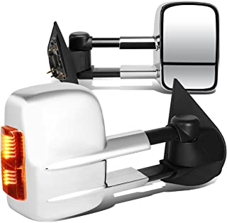 For Ford F150 F250 Pair of Chrome Powered + Amber Signal Glass + Manual Extenable Side Towing Mirrors