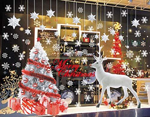 CheChury Weihnachten Aufkleber Fenster Dekoration Fensterbild Weihnachtsbaum Aufkleber Großer Elch Fensteraufkleber Wandaufkleber Schaufenster und Haus