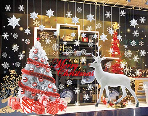 CheChury Grande Reno Blanco Árbol De Navidad Copos de Nieve Pegatinas de Ventana Murales Pared Navideños Decorativos Puerta Escaparate Extraíble Tiendas Casa