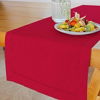 MingHing Élégant Chemin de Table Rustique en 100% Lin, 40cm x 182cm (Rouge)