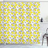 ABAKUHAUS Zitronen Duschvorhang, Skizziertes Zitronen-Muster, mit 12 Ringe Set Wasserdicht Stielvoll Modern Farbfest & Schimmel Resistent, 175x200 cm, Gelb Weiß & Schwarz