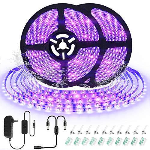 UV Black Light Strip Kit, CIYOYO 33ft IP65 Waterproof LED Blacklight Halloween Decorations, 600 Units Lamp Beads, 12V Flexible Blacklight Fixtures for Fluorescent Dance Bedroom Wedding Party Outdoor