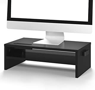 1home Wood Monitor Stand Arm Riser Desk Storage Organizer, Speaker TV Laptop Printer Stand with Cellphone Holder and Cable...