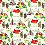 Fabulous Fabrics Cretonne Tipi und Bären – rot —