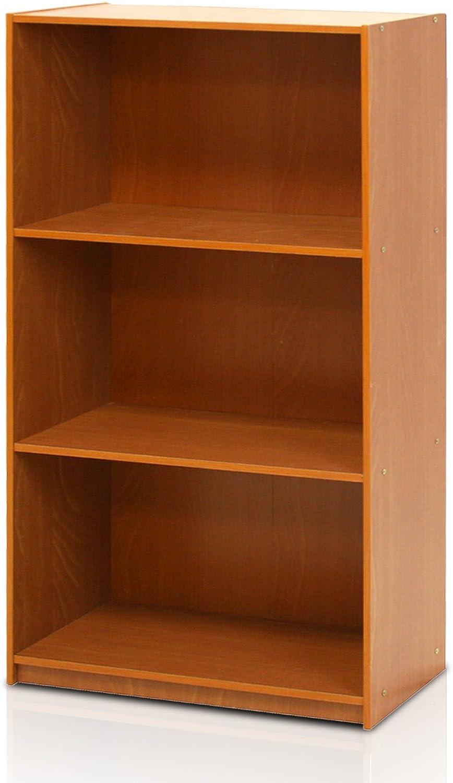 Furinno 99736LC Basic 3-Tier Bookcase Storage Shelves, Light Cherry