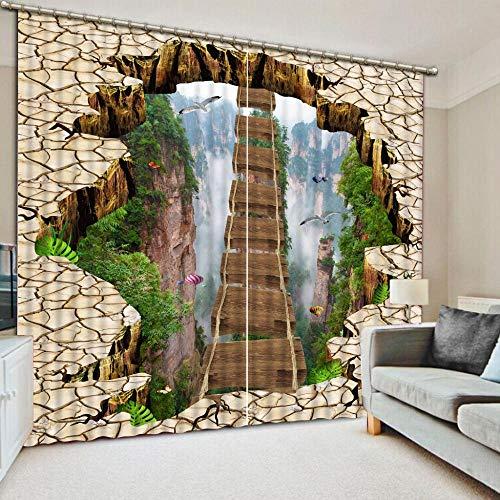 3D Verdunkelungsvorhänge- Dreidimensionale Höhlenholzbrücke -Wärmedämmender Vorhang aus 100{1acfb76b23baaef5563af6ed737d0694d351b95d020ce0615d34e53e89798121} Polyester,Energiesparen Lärm reduzieren Behandlung für Schlafzimmer Wohnzimmer Kinderzimmer-150x166cm
