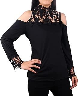 SUNNORN Women's High Neck Off Shoulder Lace Tops Long Sleeve T-Shirt Blouse Shirt