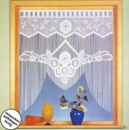 heimtexland Gardinen, Vorhang, Fadenstore-Fensterbild in M-Bogenform mit Stangendurchzug, Farbe Weiß, Höhe 110cm x Breite 100cm für Fensterbreite 85-100cm