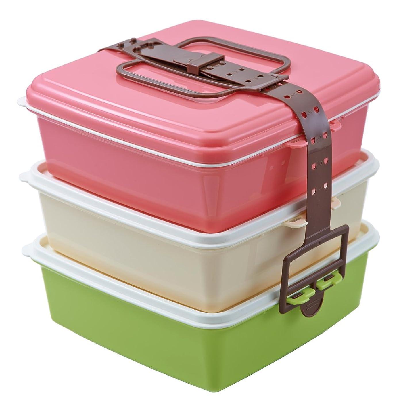 甘やかすワードローブ哺乳類Colors スタック式ピクニックケース角型(大) 3段 ピンク 4004