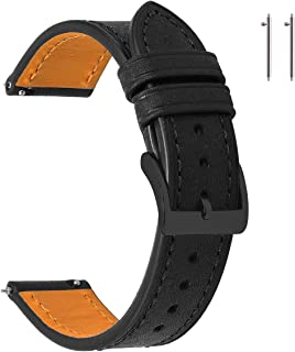22mm Black Leather Watch Bands Quick Release for Mens Compatible with SamsungGearS3Classic EACHE ItalyPueblo Top Grain Vintage Leather Watch Straps with Black Buckle