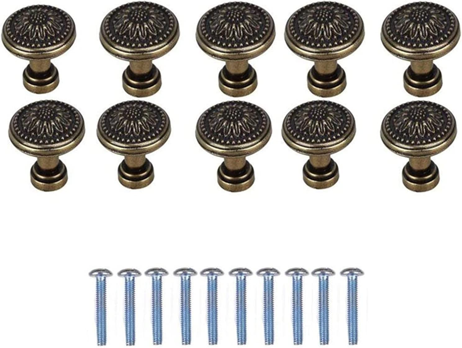 AILIUQIAN 10 Pack Oakland Mall Antique Bronzy Cab Cheap mail order specialty store Flower Kitchen Round Handle