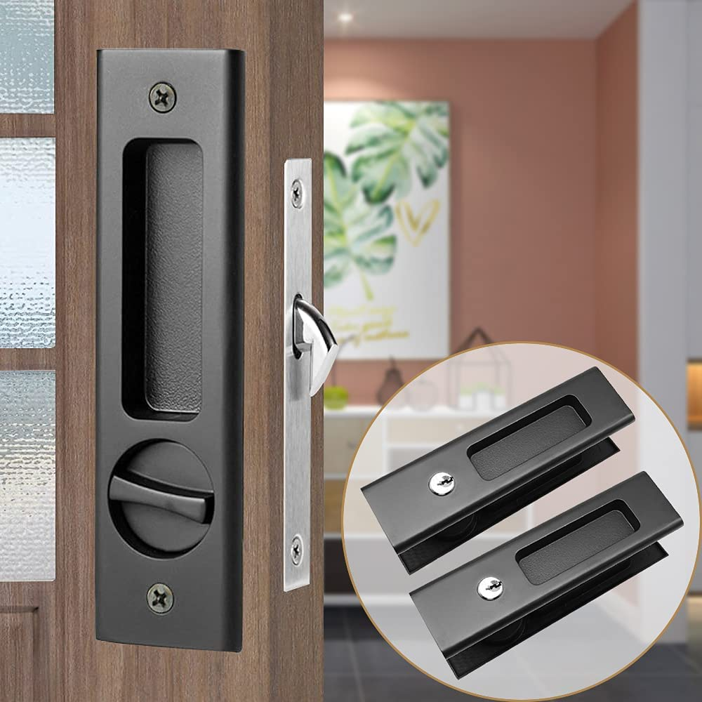 SHELLA Free Shipping New Sliding Door Lock Invisible Pocket Cheap Recessed Latch Handle
