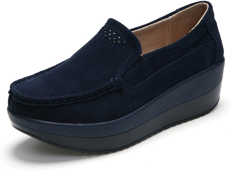 Ruiatoo Women's Suede Loafers Slip on Platform Comfort Driving Low Heel Wedge shoes bluee 39