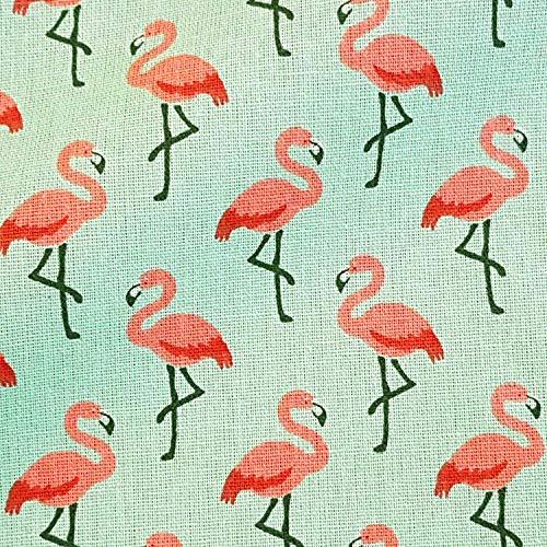 Werthers Stoffe Stoff Baumwolle Meterware Flamingo Mint Koralle rot Kleiderstoff Dekostoff Meterpreis