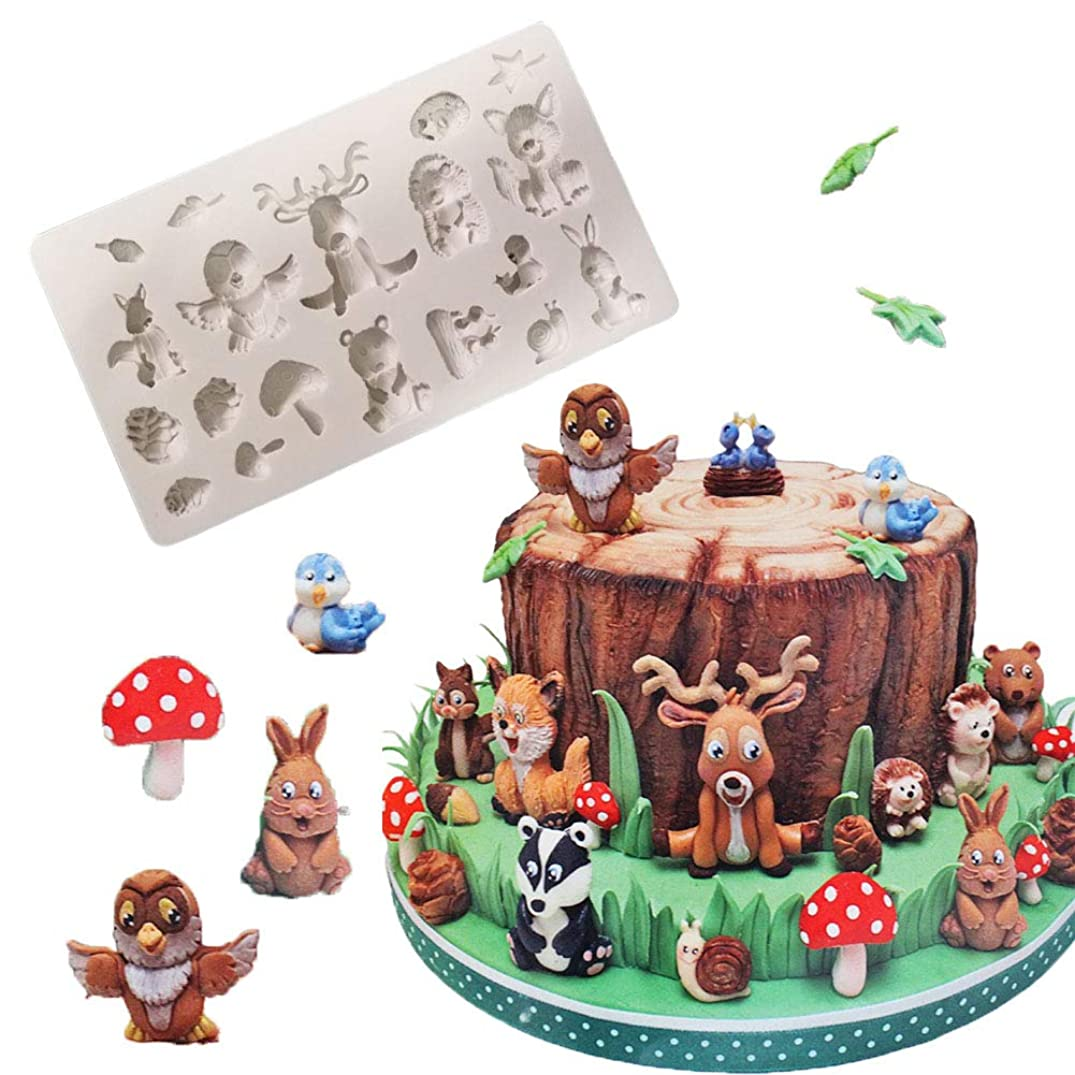 BUSOHA Animal Molds Silicone Fondant Cake Decorating Supplies - Zoo Animal Molds for Chocolate DIY Cookies Candy Clay (Squirrel Rabbit Sika Deer Hedgehog Mushroom Animal Forest)