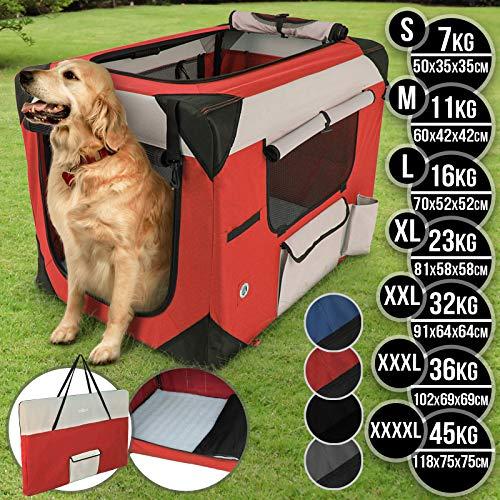 Leopet Hundebox aus Stoff - faltbar, zusammengefaltet tragbar, abwaschbar, Farbwahl, Größenwahl S-XXXXL - Hundetransportbox, Auto Transportbox, Katzenbox für Hunde, Katzen und Kleintiere (S, Rot)