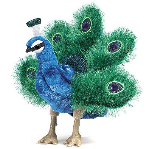 Folkmanis Handpuppe Puppet 2834 Kleiner Pfau Blau, Grün