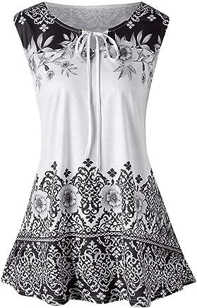 28aa5ffdab6a04 OOEOO Women Vest Fashion Plus Size Printed Tank Tops Sleeveless Blouse  Keyhole T-Shirt White
