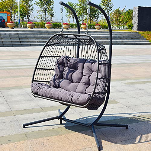 Brafab Luxury X-Large Double Egg Swing Chair 2 Person Hanging Chair Rattan Wicker Hammock Chair with...