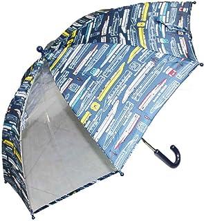 キッズ傘 子供傘 ネイビー×新幹線柄 50cm 手開き傘