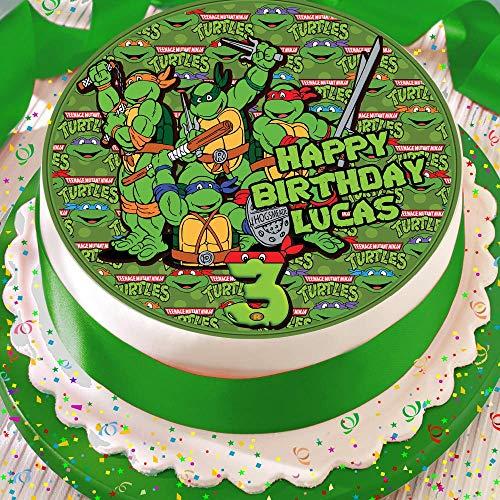 Mutant Ninja Turtle Geburtstagskuchendekoration, personalisierbar, 19 cm, essbarer Zuckerguss