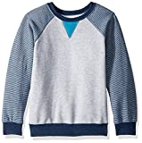 Fruit of the Loom Boys' Big Fleece Crewneck Sweatshirt, Athletic Smoke Blue Stripe/T.Blue Amulet Teal Heather, X-Large