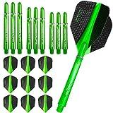 Harrows, 3 confezioni di alette e steli per freccette Retina, 3 set (9 pezzi), con presa Supergrip, colore: verde