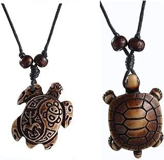 MengPa Cute Sea Turtles Tortoises Pendant Necklaces for Women Men 2Pcs