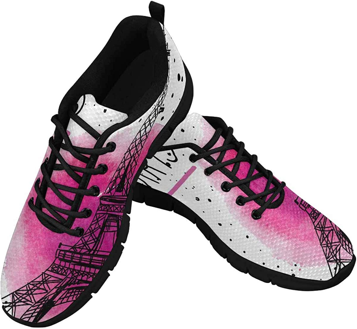 INTERESTPRINT I Love Paris Eiffel Tower France Women's Lightweight Athletic Casual Gym Sneakers