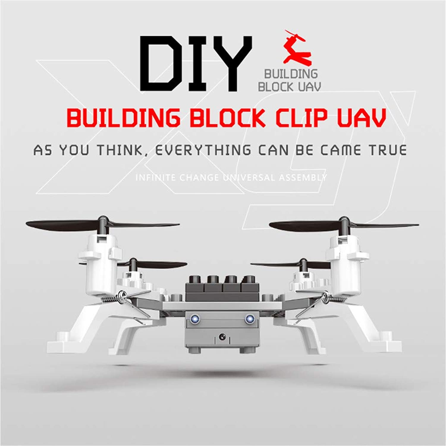Yafei Mini drone 30W HD pixel clip free transform puzzle assembly toy 2.4Ghz remote control aircraft DIY fouraxis building block aircraft 360 degree roll