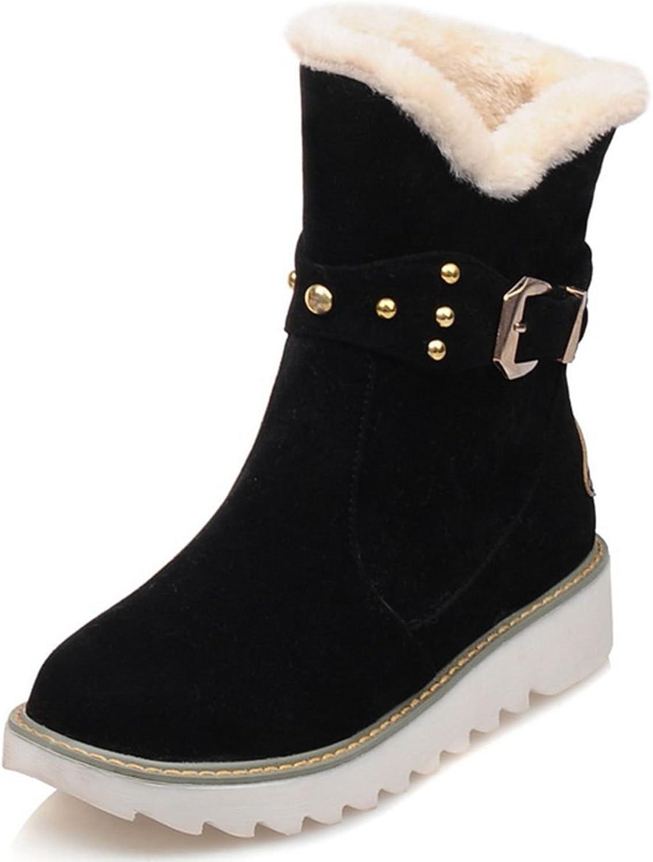DoraTasia Women's Buckle Strap Metal Rivets Platform Faux Fur Boots