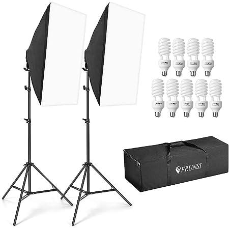 撮影ボックス ソフトボックス2セット 180W 50*70cmの照射面 移動しやすい 扱いやすいポータブル撮影ライト 5500K 寒色ランプ9個セット CFL純白電球 写真撮影 ポートレート撮影 生放送補助ライト 日常生活補助ライト 丸収納バッグ付属