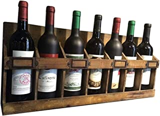 Vintage Wine Rack Wall Holder for 7 Bottles Free Standing Wood | LOFT Vintage Wall Shelf Storage Rack Wall-Mounted | Cube ...