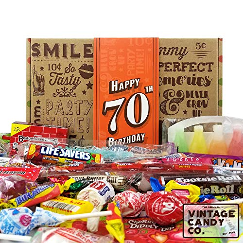 Happy 70th Birthday Candy Gift Box - Free Shipping