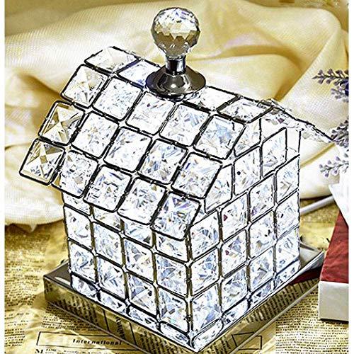 Duurzame woonkamer, decoratie, geschenk, gouden Europese en modieuze Crystal LED bureaulamp, LED-nachtlampje, met volledige K9 Crystal House Design Lamp Lichaam voor slaapkamer, oplichting levensduur (kleur: zilver), Co