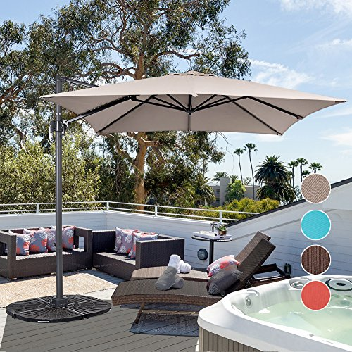Sundale Outdoor 8.2ft Square Offset Hanging Umbrella Market Patio Umbrella Aluminum Cantilever Pole with Crank Lift, Corss Frame, Polyester Canopy, 360°Rotation, for Garden, Deck, Backyard (Tan)