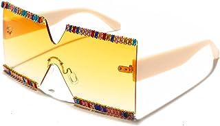 ShSnnwrl Único Gafas de Sol Sunglasses Gafas De Sol Cuadradas De Gran Tamaño con Diamantes De Imitación para Mujer, Diseño De Dia