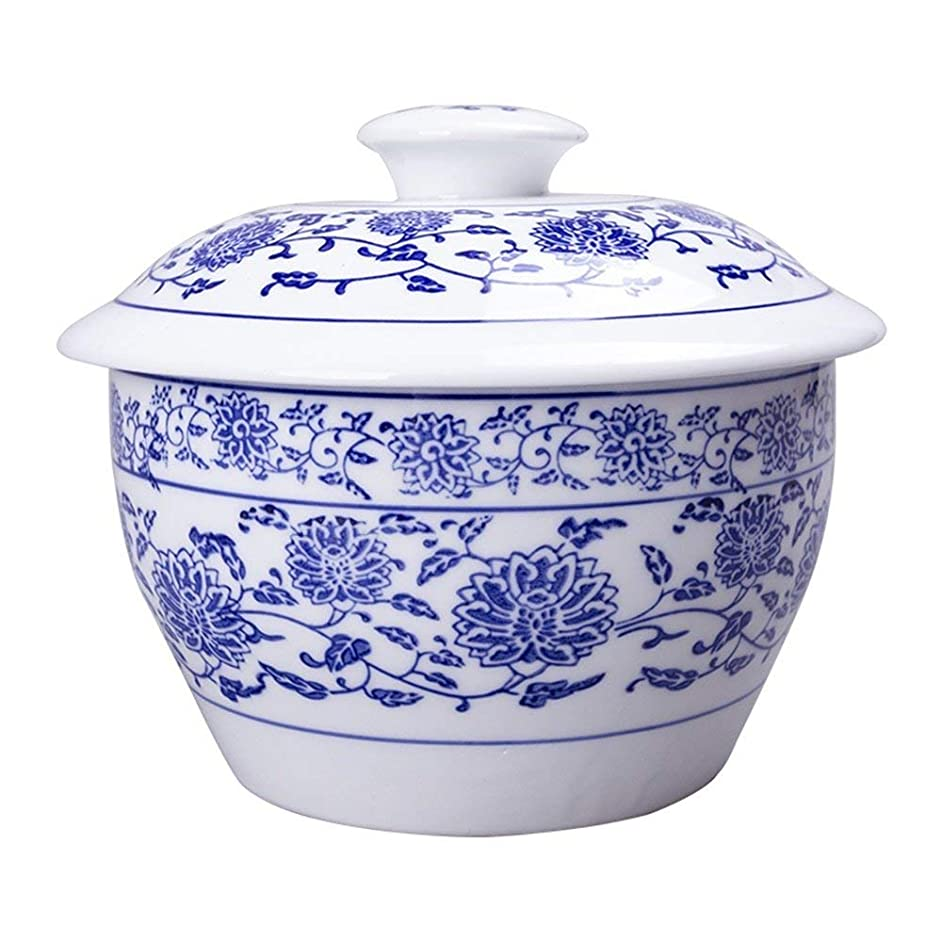 Ceramic Soup Ramen Pasta Bowl with Lid Retro Fruit Salad Rice Steamed Egg Stew Cubilose Instant Noodle Bowl Mixing Serving Bowl Tureen Oven Microwave Safe (Size : 6.3 inches) Lightweight