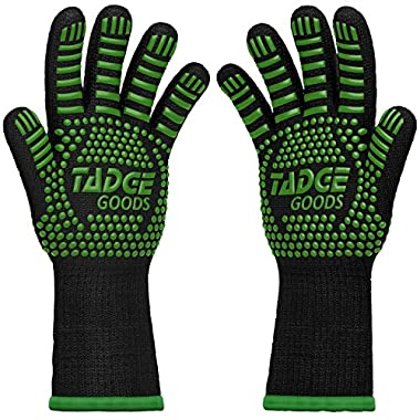 Oven Mitts Heat Resistant BBQ Gloves – Best Silicone Cooking & Grilling Accessories – Extreme Hot 932 Degrees Hand & Forearm Protection, Green