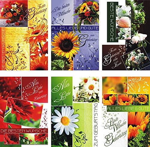 100 Glückwunschkarten zum Geburtstag Blumen 51-3510 Geburtstagskarte Grußkarte