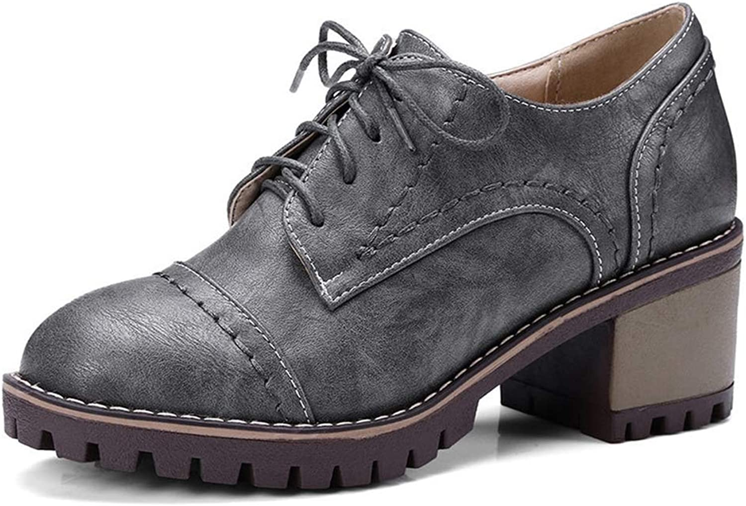 CYBLING Womens Vintage Oxfords PU Leather Brogue Wingtip Lace up Chunky Mid Heel shoes