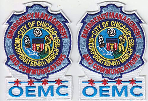 Embroidered Patch OEMC Chicago IL Illinois Emergency Management Communications 2 Patches Police Made in The USA