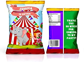 12 Personalized Chip Bags | Carnival Party | Circus Birthday Supplies | Chip Bags for Party | Chip Bag Template | Carnival Party Favors | Circus Birthday Favors | Custom Carnival Party Supplies