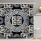 AdaCrazy Laberinto de Plata Adornado Línea de patrón Floral Griego Panel de Oro Versace Flores Retro Resumen Microfibra Baño Cortina de baño Cortina de baño Moderna 71x71 Pulgadas