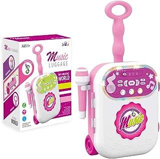 HANMUN Kids Microphone Set Singing Luggage Suitcase Movable Karaoke Machine for Kids (Pink) ¡
