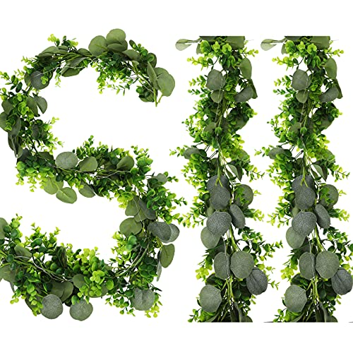Mudder 6.5 Feet Eucalyptus Garland Natural Looking Artificial Faux Greenery Garland Vine with LED String Light for Wedding Table Home Wedding Farmhouse Decoration