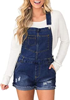 LUKEEXIN Women's Rolled Cuffs Jeans Denim Stretch Bib Overalls Shorts