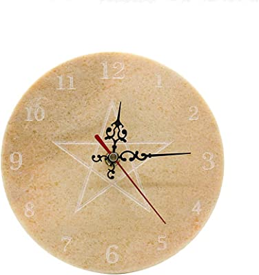 YCD Ziran Marble Wall Clock,Silent Non Ticking-Round Easy to Read Home/School/Office Clock(red) (Round Star)