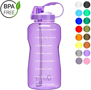 BuildLife Motivational Gallon Water Bottle with Unique Timeline/Measurements/Goal Marked Times for Measuring Your Daily Intake 64OZ/128OZ BPA Free