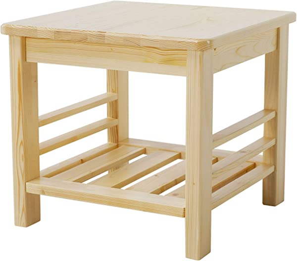 JSY Home Furniture Square Coffee Side End Table With Lower Shelf 100 Natural Pine For Living Room And Bedroom Natural End Table Natural